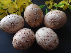 EASTER SALE Easter Eggs Pysanky Set of 5 Decorated by EggstrArt, $49.95