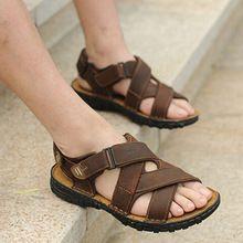 Gran Calidad Superior Del Cuero Genuino de Negocios Masculino Sandalias Casuales Nuevo Estilo Clásico de Cuero Nobuck Hombres Ocio Zapatos Sandalia(China (Mainland))