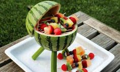 Watermelon grilled fruit kabobs.