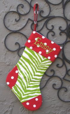 Monogrammed Christmas Stocking  by sassygatormonograms on Etsy