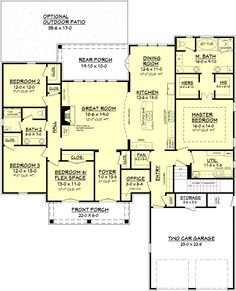European Style House Plan - 4 Beds 2 Baths 2480 Sq/Ft Plan #430-102 Main Floor Plan - Houseplans.com
