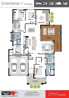 12 Popular Floor Plans of 2018 - Grady Homes Townsville Builder Bungalow Floor Plans, Bungalow House Design, Modern House Design, House Floor Plans, Building Design, Building A House, Large Bathrooms, Dream House Plans, Home Design Plans