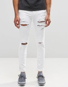 Dr+Denim+Snap+Skinny+Jeans+White+Ripped+Knee+and+Thigh