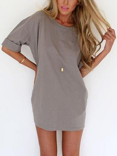 casual t shirt dress, loose shirt dress, grey chill round neck half sleeve dress - Crystalline