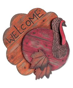 Loving this Turkey 'Welcome' Sign on SLV: add leaves to my pallet turkey Thanksgiving Wood Crafts, Fall Wood Crafts, Pallet Crafts, Thanksgiving Decorations, Turkey Decorations, Kids Crafts, Fall Halloween, Halloween Crafts, Holiday Crafts