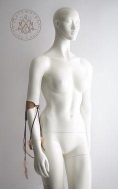 Brown leather armlet Upper arm bracelet with by MetamorphDK