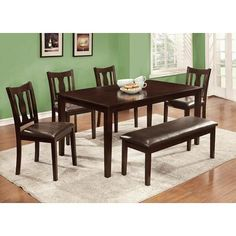FOA 6 pc Northvale II transitional style espresso finish wood dining table set with padded leatherette seats and bench