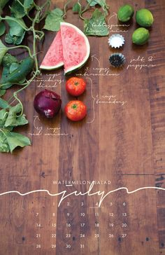 Watermelon Salad for July from the 2013 Recipe Wall Calendar  Local/Seasonal by lizcarverdesign, $25.00