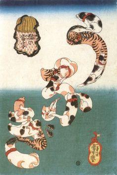 Utagawa Kuniyoshi (Japanese Ukiyo-e Printmaker, ca.1797-1861) / Cats forming the caracters for Eel (unagi), from the series Cat Homophones (Neko no Ateji)