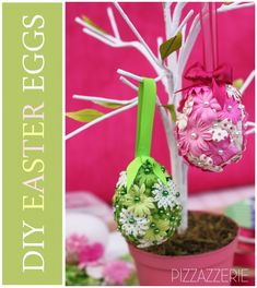 Tutorial: DIY Flower Easter Eggs By Pizzazzerie -- see more at LuxeFinds.com