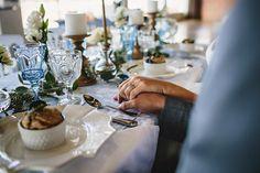 Brunch Morning Wedding ~ Sunday Kind of Love. Blue & White Vintage Table Decor. Gorgeous linens by La Tavola