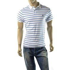 Polo Ralph Lauren Mens Polo Shirt Sueded Cotton Custom Fit Size M NEW White Blue #PoloRalphLauren #PoloRugby