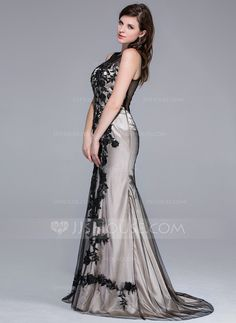 Trumpet/Mermaid Scoop Neck Sweep Train Tulle Charmeuse Evening Dress With Lace (008025423)