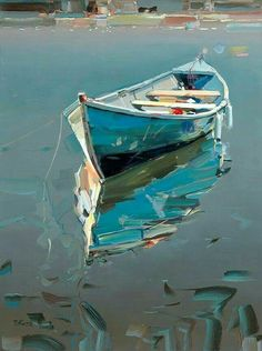 Row boat and reflection ?club : Row boat and reflection ?, : Row boat and reflection ? Watercolor Landscape, Landscape Art, Watercolor Paintings, Arte Latina, Boat Drawing, Art Carte, Sailboat Painting, Boat Art, Seascape Paintings