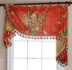Red Bird Toile Flat Swag Valance on Rings #valances