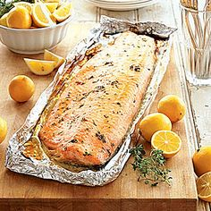 37 easy camping recipes: Barbecued Salmon    A simple glaze of brown sugar, mustard, and thyme highlights salmon's delicate sweetness. This dish is great for serving a crowd at camp.