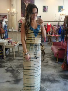 Turn heads in this stunning maxi!! The jeweled detail adds the perfect touch to such a beautiful print! Love! Love! Love!!