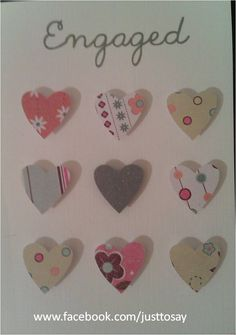 engagement card embellished with hearts