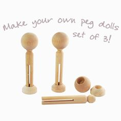 Three sets of peg doll parts  head beads pegs by LittleBrownDogUK, £4.95