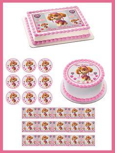 PAW PATROL SKYE 2 Edible Birthday Cake Topper OR Cupcake Topper, Decor