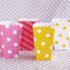 Cute party cups!  Pass the popcorn, please.