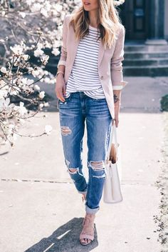 blush blazer and boyfriend jeans