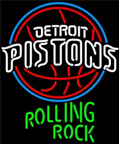 Rolling Rock Detroit Pistons NBA Neon Beer Sign, Rolling Rock with NBA Neon Signs | Beer with Sports Signs. Makes a great gift. High impact, eye catching, real glass tube neon sign. In stock. Ships in 5 days or less. Brand New Indoor Neon Sign. Neon Tube thickness is 9MM. All Neon Signs have 1 year warranty and 0% breakage guarantee.