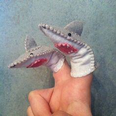 Shark Finger Puppet by LumpyButtonsGifts on Etsy