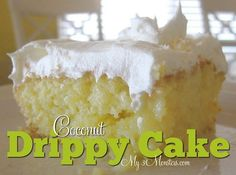 Coconut Drippy Cake - Yummm! - Click image to find more desserts Pinterest pins
