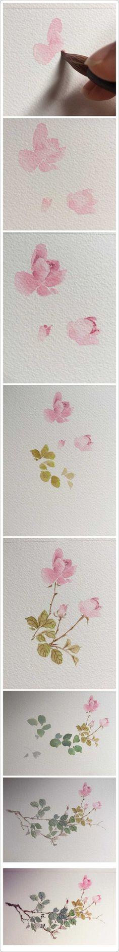 Watercolor art: Roses