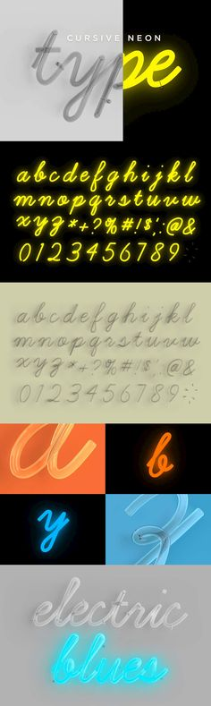 Cursive Neon Type - A Photoshop template file to help you create realistic words in all the glory of cursiv...