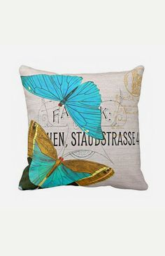Pillow Cover Springtime Blue Butterfly Cotton