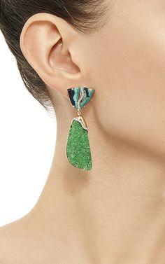 Uvarovite, azurite, and malachite earrings Imitation Jewelry, Malachite, Garnet, Artisan, Sparkle, Drop Earrings, Gemstones, Crystals, Sterling Silver