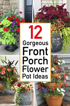 Rustic Diy Decor Explore stunning color combinations and practical planting advice with these 12 flower pot ideas for your front porch container gardening! Front Porch Flowers, Front Porch Plants, Garden Yard Ideas, Lawn And Garden, Porch Garden, Garden Art, Container Flowers, Container Plants, Succulent Containers