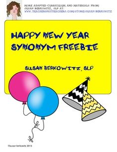 Happy New Year! Here is a way to get the new year off to a fun start with a quick vocabulary game. Good for centers, for speech therapy, for independent practice. Match the balloons and party hats. There are 16 pairs of synonyms. Teaching Language Arts, Speech Language Therapy, Language Activities, Teaching Writing, Speech And Language, New Years Activities, Speech Therapy Activities, New Year Speech