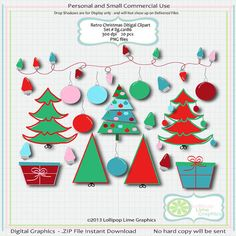 Christmas Clipart Graphics Retro Christmas by LollipopLimeGraphics.