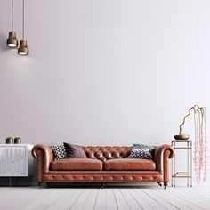 images couches with blank walls Style At Home, Modern Style Homes, White Brick Background, Blank Walls, Sofa, Couches, Bar, Elegant, House Styles