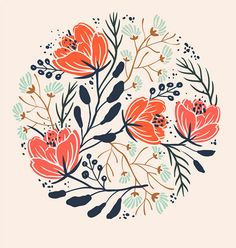 Plant and flower pattern designs.