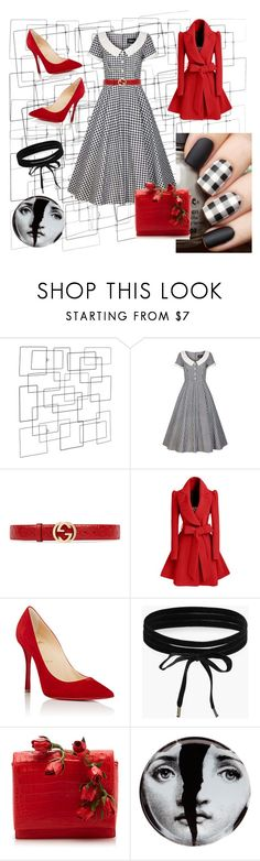 """bnw"" by e-memagic ❤ liked on Polyvore featuring Collectif, Gucci, WithChic, Christian Louboutin, Boohoo, Nancy Gonzalez and Fornasetti"