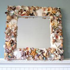 "Artisan handmade colorful seashell mirror, 18"". It's perfect as a beach gift, seashell gift, or beach wedding gift, makes beautiful coastal or nautical decor! Beach Mirror, Nautical Mirror, Nautical Bathroom Design Ideas, Nautical Interior, Diy Interior, Interior Design, Coastal Mirrors, Coastal Decor, Shell Mirrors"