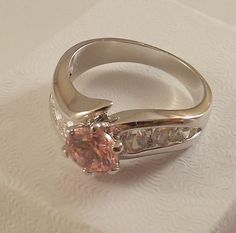 Ladies Russian Formula Tourmaline CZ Solitaire Silver Ring ~Size 5 Free Gift Box