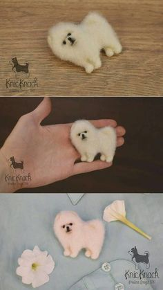 Needle felted Wool brooch Pomeranian white Spitz Dog MADE TO ORDER This brooch SOLD ! ___________________________ I can make miniature of your pets or animals any size according to your description or photos. Each new toys/brooch will be different, not like the previous one, with
