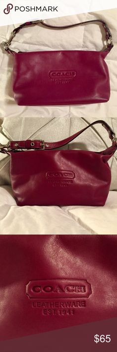"Small Leather Coach Purse, Maroon with Metal Clasp Authentic leather Coach purse. Maroon color. Small purse big enough for cell phone, wallet and some makeup for touch ups... all you need for a night out! NWOT, Smoke Free Home W 8.5"" H 5"" D 3.5"" Handle Length 13"" Coach Bags Mini Bags"