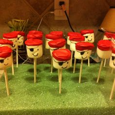 Pirate marshmallow pops for Jacob's birthday party.