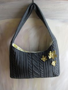 make a purse from a sweater, this is not a tutorial but I think a great example