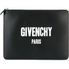 Givenchy Paris logo print clutch (2,850 SAR) ❤ liked on Polyvore featuring bags, handbags, clutches, black, givenchy, givenchy handbags, genuine leather purse, real leather handbags and leather handbags