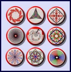 """SPIROGRAPH vintage Toy Designs 9 Pinback 1"""" Buttons Badges Pins. $9.00, via Etsy."""