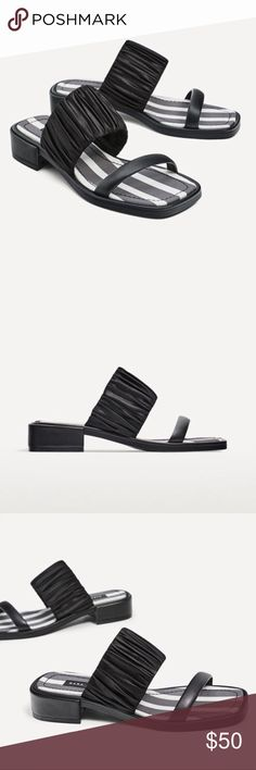 Zara Black Stripe Sandals • brand: zara  • condition: nwt  • size: US 8  • description: black sandals with double straps   • trying to downsize my closet. bundle to save 💰 no trades or holds. happy shopping! Zara Shoes Sandals