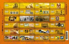Bloco alusivo aos 350 anos de Correios no Brasil - Emissão Comemorativa: Correios 350 Anos: História, Pessoas e Ação Artista: Valéria Faria Data: 25 de Janeiro de 2013