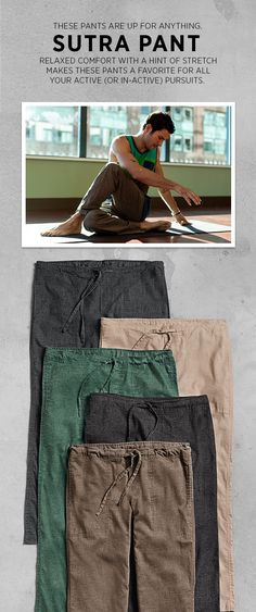 12 Yoga Pants for Men Ideas for your daily meditation! Hobbies For Girls, Mode Man, Mens Attire, Made Clothing, Clothing Ideas, Yoga For Men, Lifestyle Clothing, Yoga Wear, Sustainable Clothing